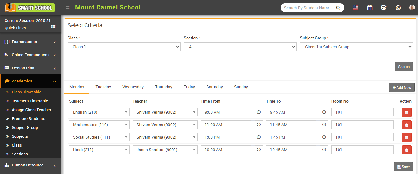 Add new class timetable image