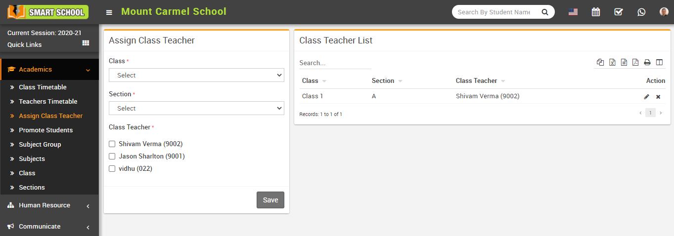 Assign class teacher image