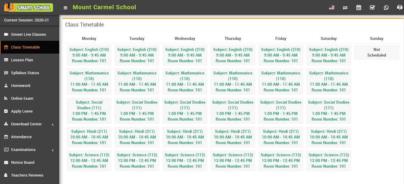 student view class timetable image