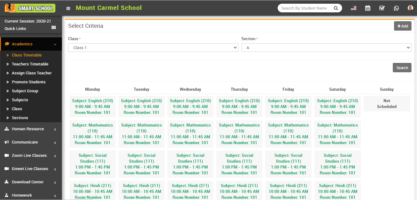 View class timetable image