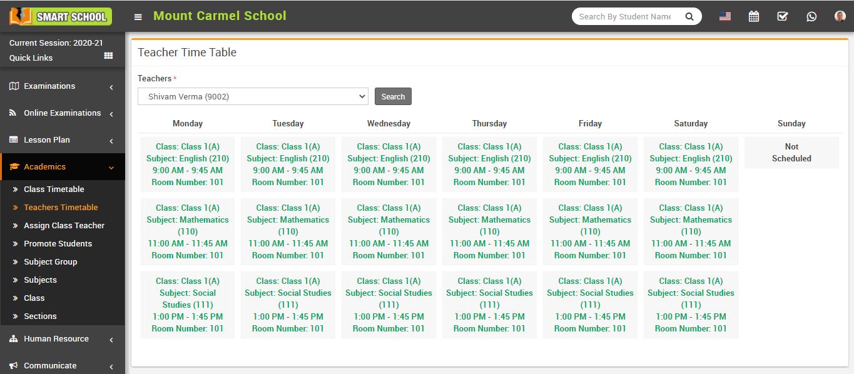 View teacher timetable image