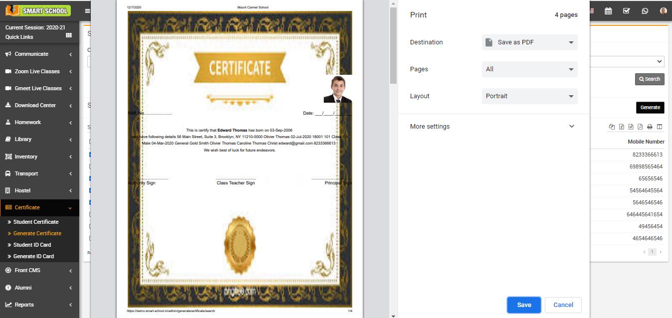 view generate certificate image