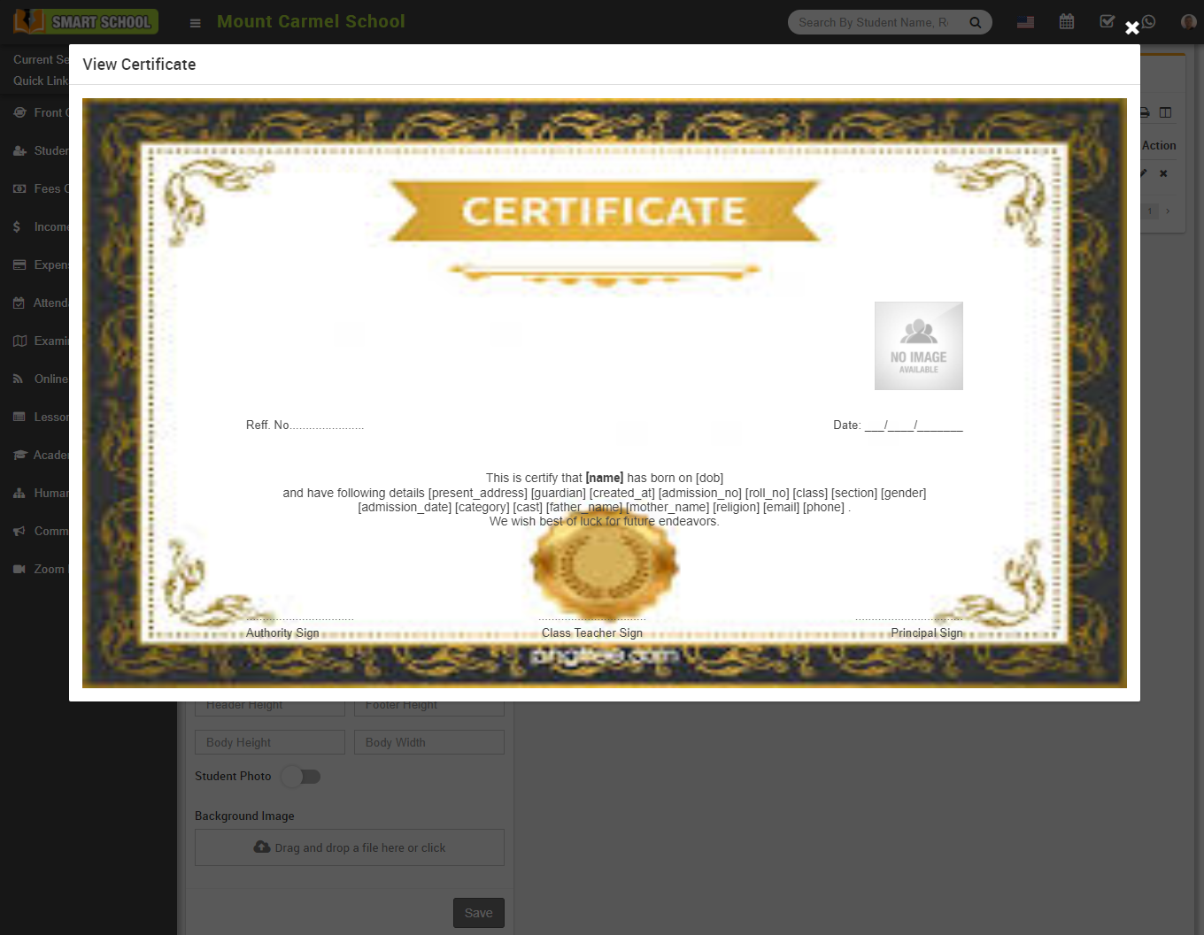 view student certificate image