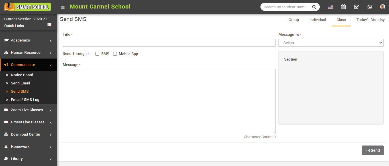 Send SMS class image