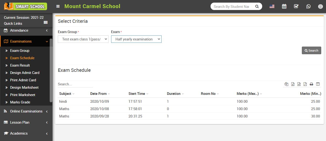 Check exam schedule