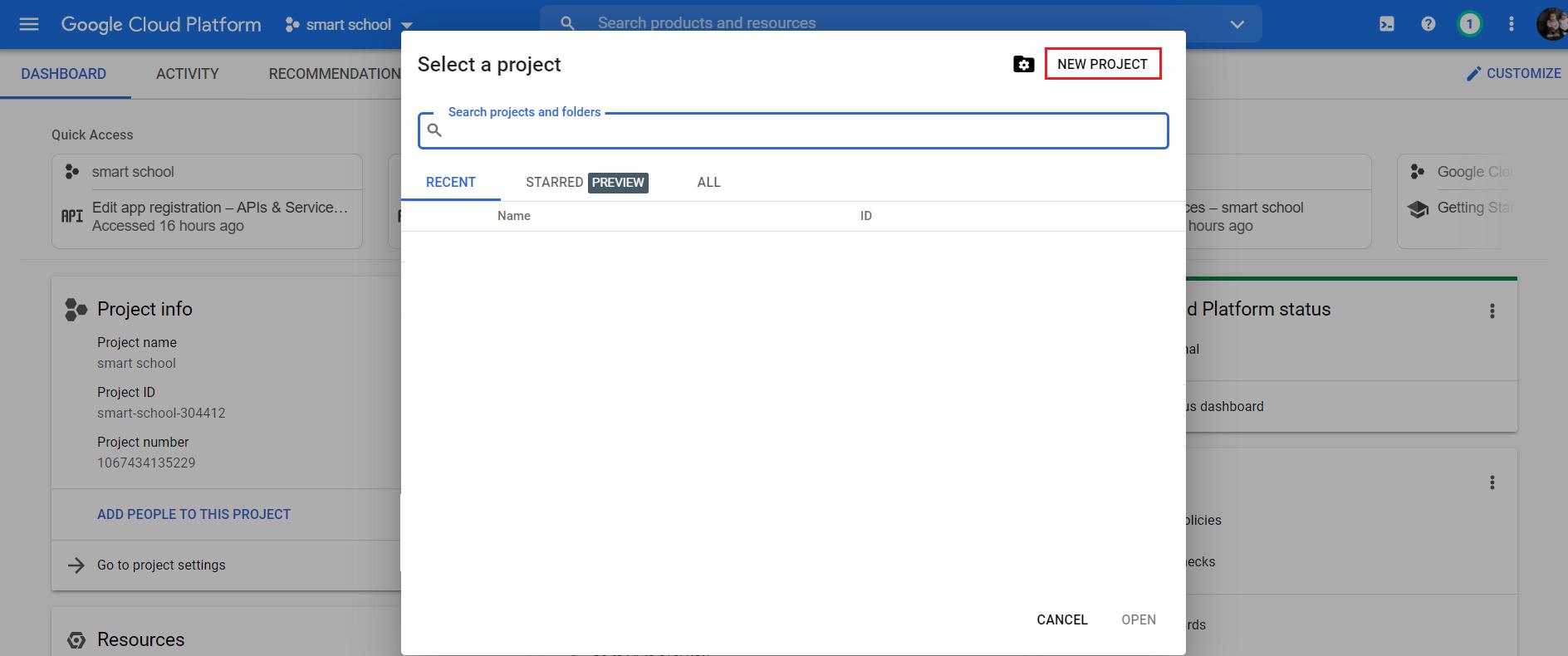 Gmeet create new project