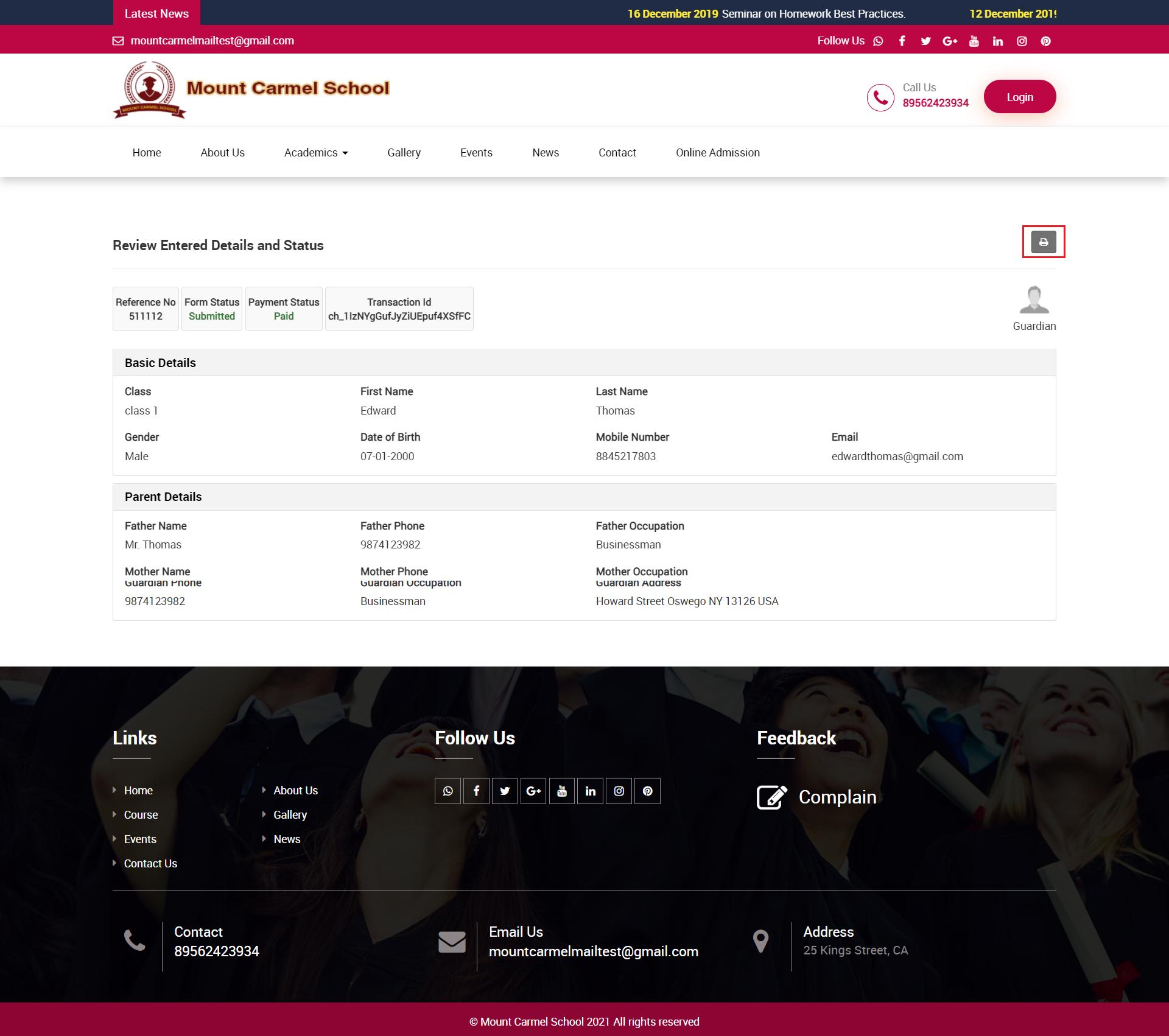 online admission admin site print image