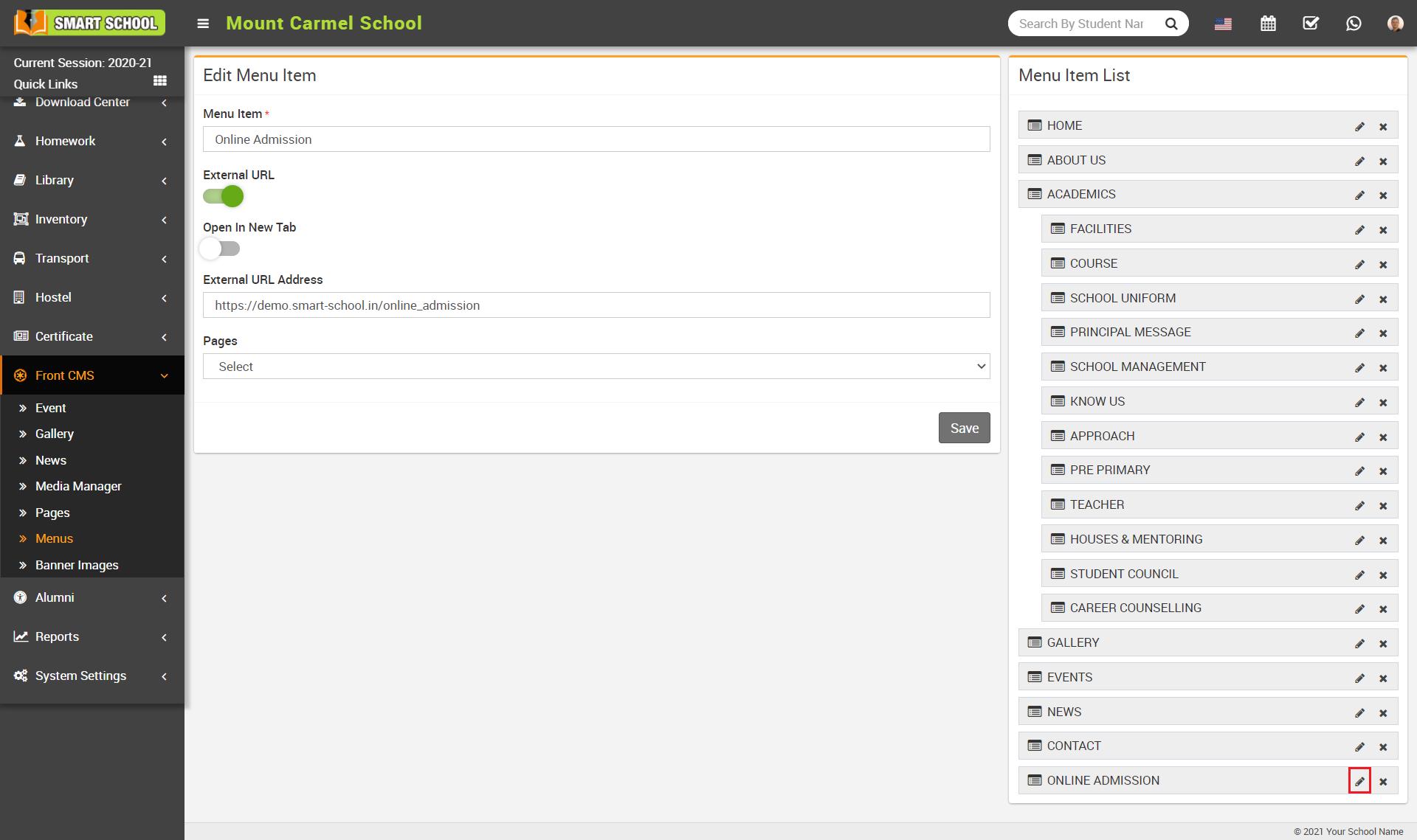 online admission menu edit