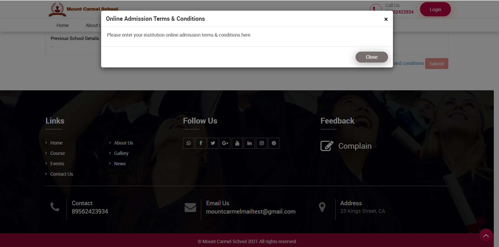online admission Term and condition