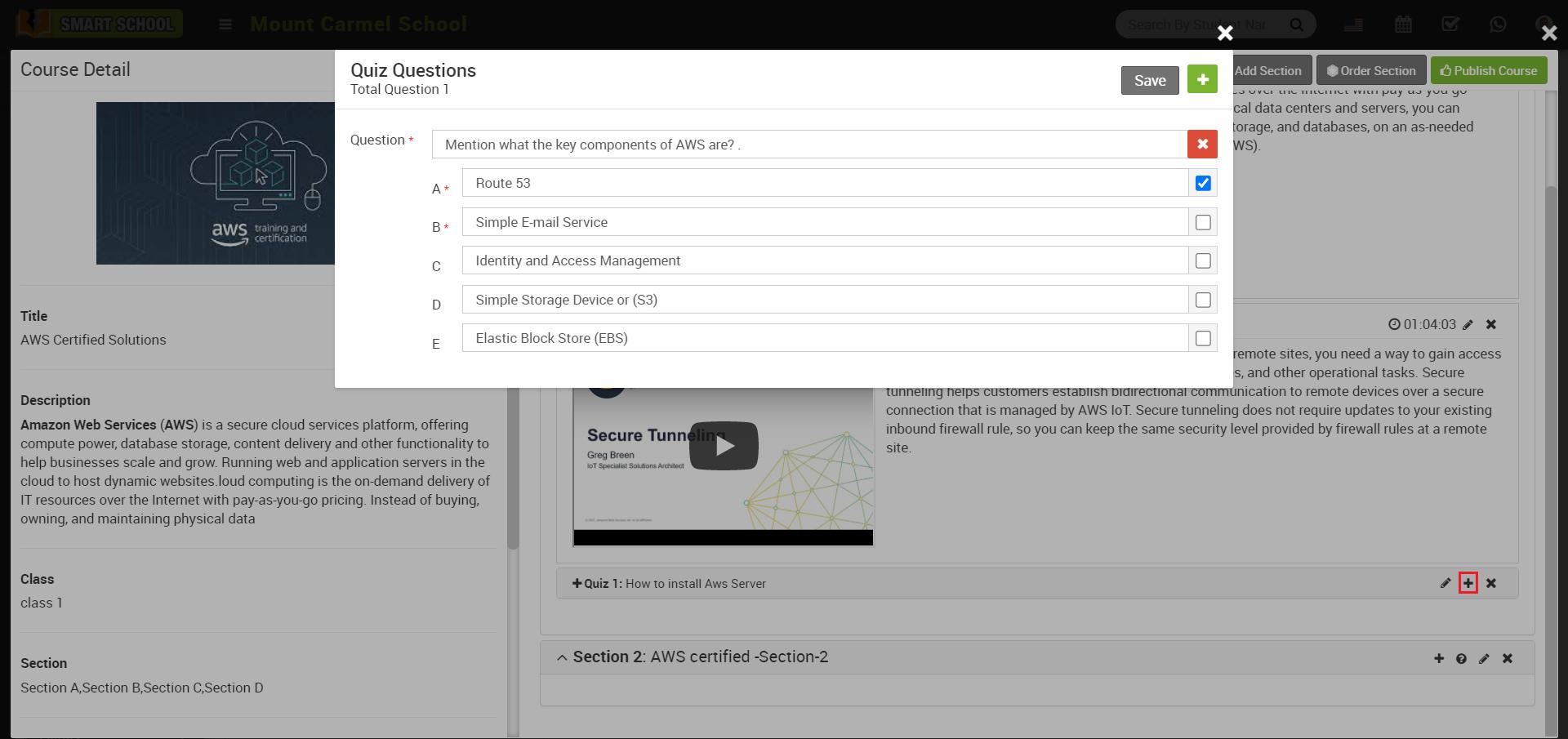 online course add quiz question image