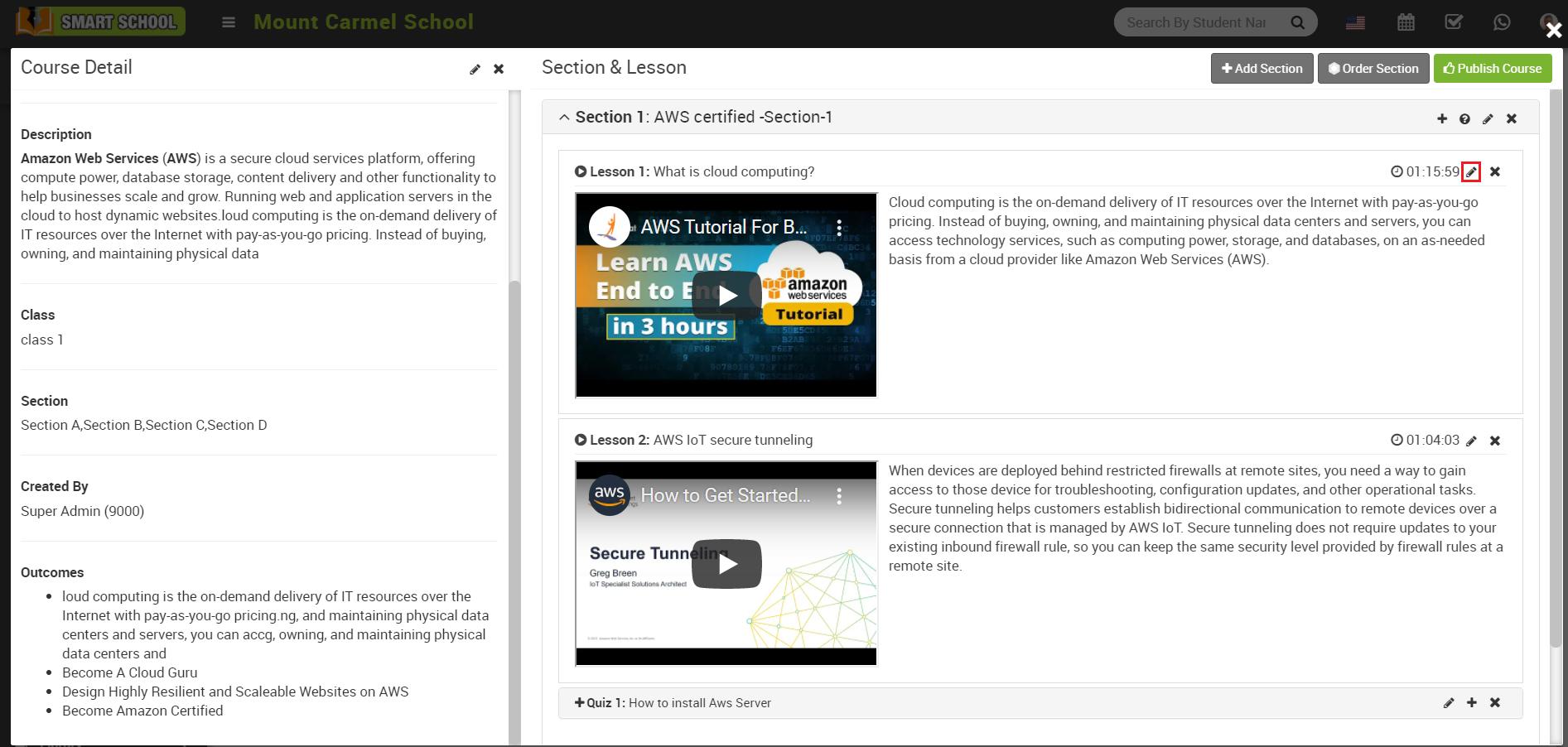 online course edit lesson