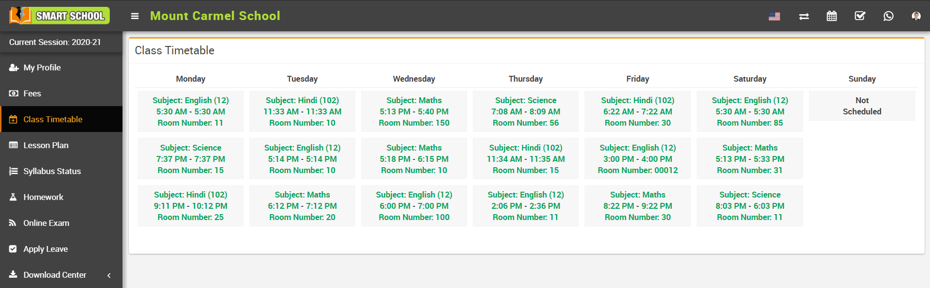student class time table image