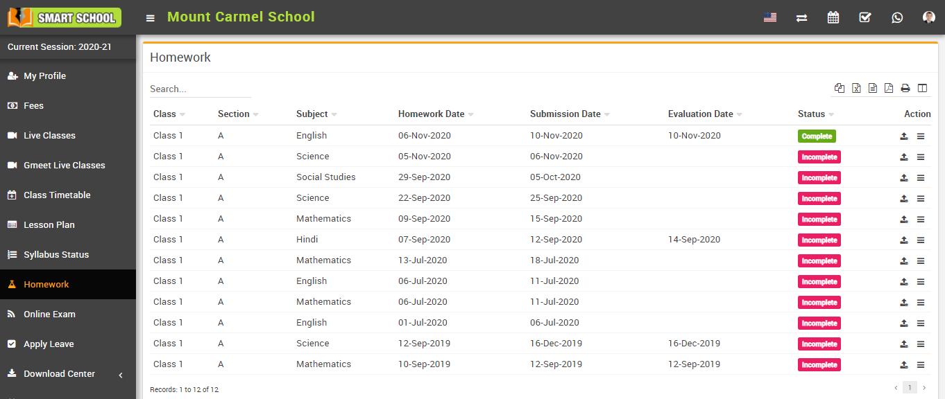 student homework list