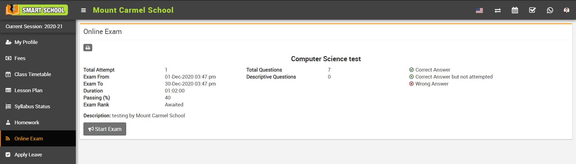 student online exam detail