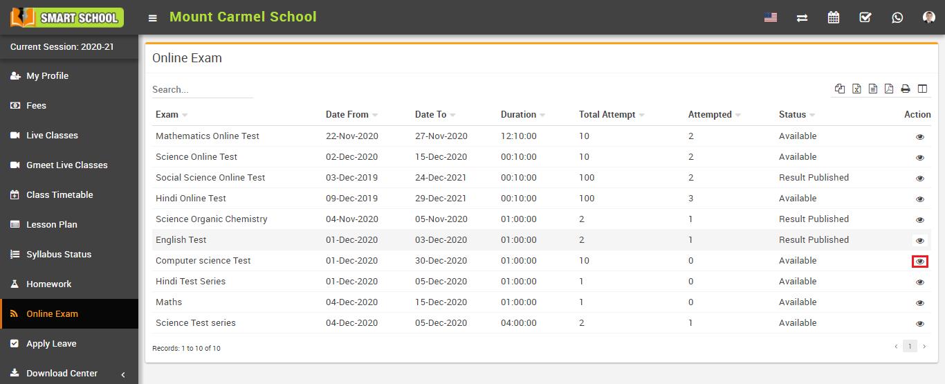 online exam list image