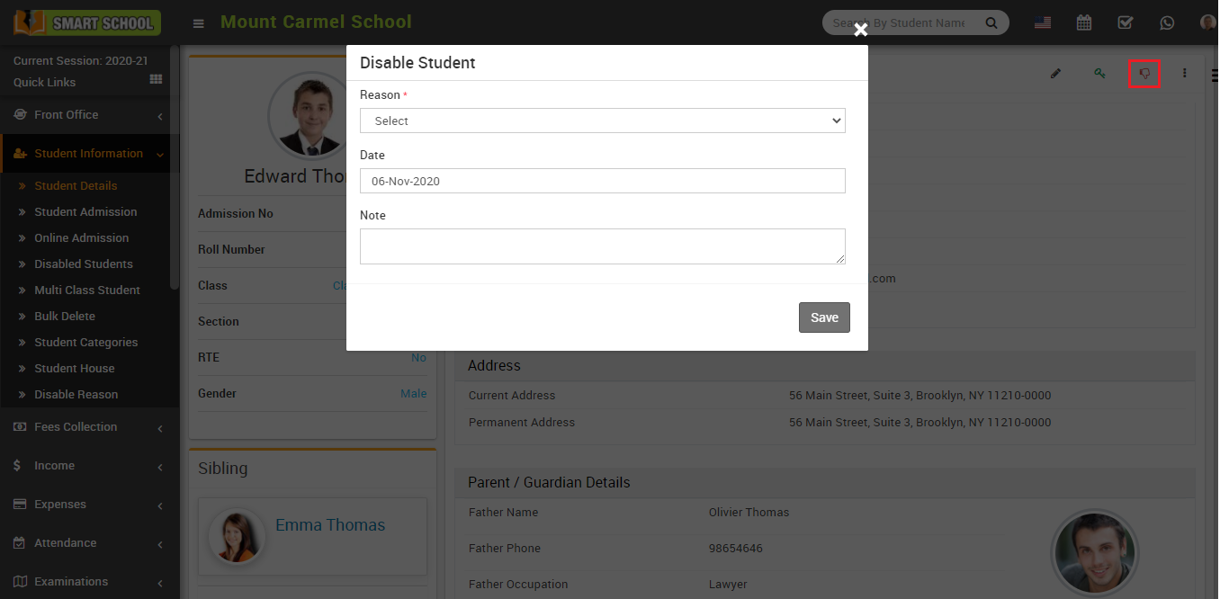 Disable student image