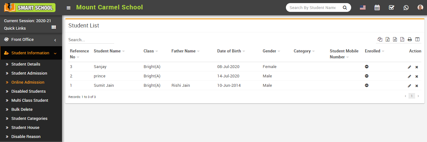 Online admission student list image