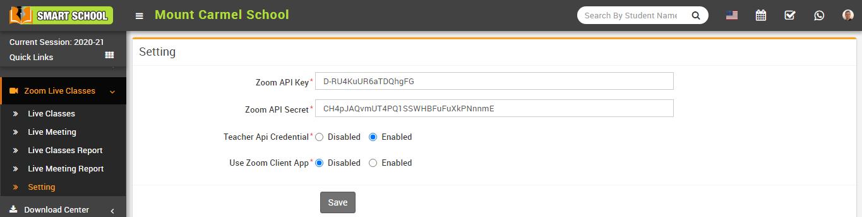 Teacher API credential setting