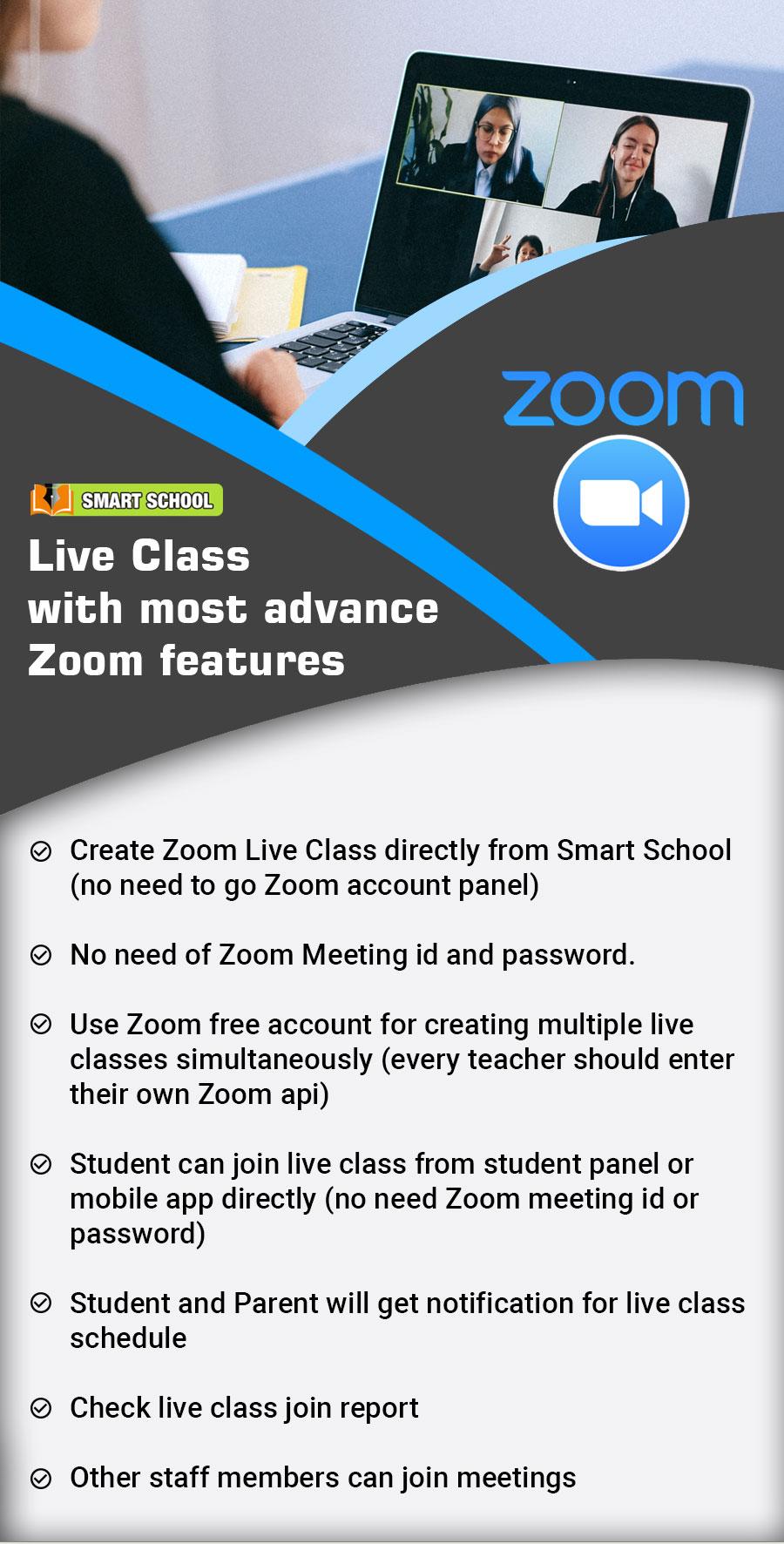 Smart School Zoom Live Class features